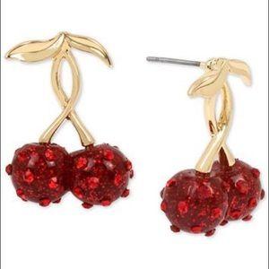 Betsey Johnson Cherry Drop Earrings